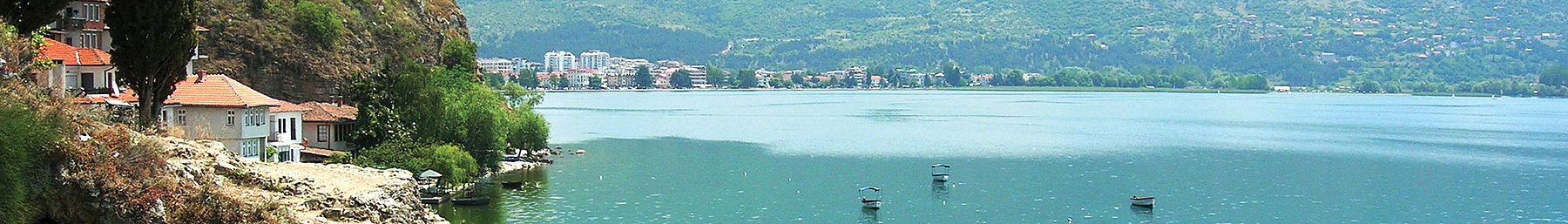 Lake Ohrid as seen from Kaneo, a suburb of Ohrid