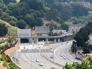 Western portals of the Caldecott Tunnel, May 2019.JPG