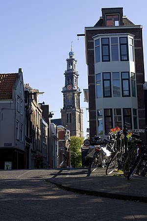 A view of the Westertoren from the Jordaan in Amsterdam, The Netherlands.