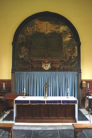 Dossal - Dossal curtain, below a painted altarpiece, Weston-on-the-Green, Oxfordshire