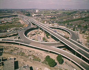 London Ringways - Elevated junction of the West Cross Route and Westway  at White City looking north-west shortly after construction. The continuation of the West Cross Route would have passed under the roundabout with the stubs from the roundabout linking to the northern slipways.