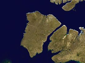 Satellite photo montage of Banks Island