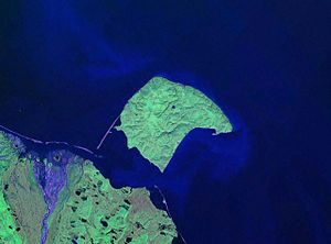 Herschel Island - NASA Landsat pseudocolour photo of Herschel Island