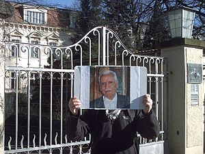 Shibli al-Aysami - Berlin, February 2014: Ba'athist student in front of the Lebanese embassy reminding al-Aysamis's disappearance