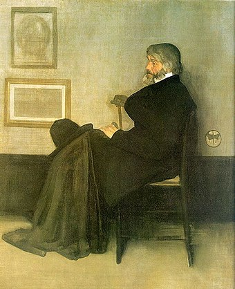 Arrangement in Grey and Black, No. 2: Portrait of Thomas Carlyle. James McNeill Whistler, 1872-73. Oil on canvas, 171 x 143.5 cm. Whistler James Arrangement in Gray and Black No2 1873.jpg