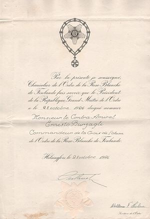 Order of the White Rose of Finland - Diploma of White Rose Order