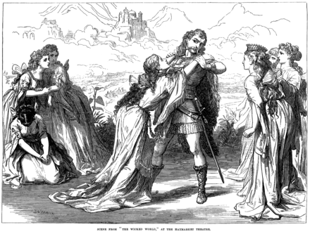 D. H. Friston's illustration of a scene from Gilbert's The Wicked World (1873), which he reworked into Fallen Fairies (1909) Wicked World - Illustrated London News, Feb 8 1873.PNG
