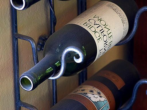 Wine bottles in a rack