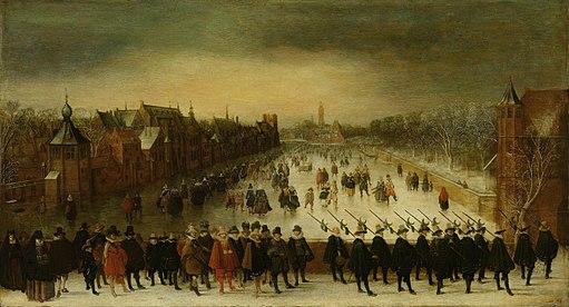 Wintergezicht op de Vijverberg te Den Haag met op de voorgrond prins Maurits en zijn gevolg Rijksmuseum SK-A-955