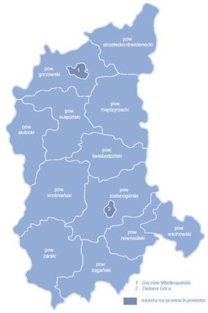 Любушское воеводство на карте