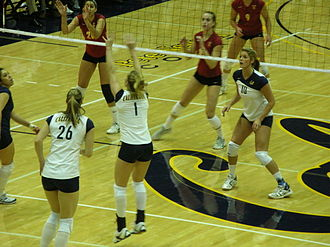 California Golden Bears - The women's volleyball team faces off against Southern California in November 2008.