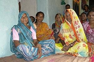 English: Women in a tribal village (Gondi trib...