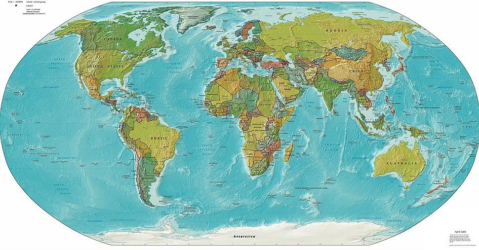 Worldmap LandAndPolitical