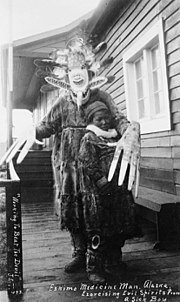 Yup'ik shaman exorcising evil spirits from a sick boy, Nushagak, Alaska, 1890s. Nushagak, located on Nushagak Bay of the Bering Sea in southwest Alaska, is part of the territory of the Yup'ik, speakers of the Central Alaskan Yup'ik language
