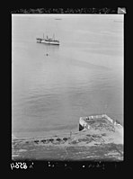 Zanzibar. View along the harbour from roof of ancient palace; Sultan's ship at anchor LOC matpc.17674.jpg