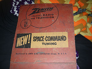 "Zenith Electronics - A box advertising a remote control system often referred to as ""Space Command Tuning"""
