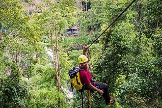 Mondulkiri Province - Image: Ziplining over Busra Waterfall