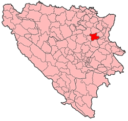 Location of Živinice within Bosnia and Herzegovina.