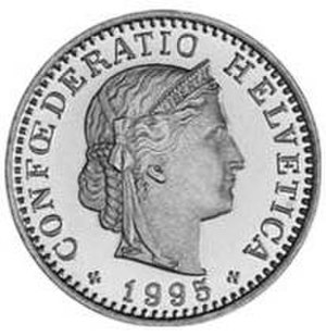 Libertas - Libertas is depicted on coins from several countries, such as the Swiss twenty-cent coin depicted here.