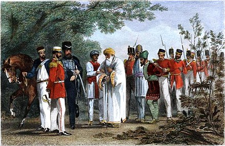 "Capture of Bahadur Shah Zafar and his sons by William Hodson at Humayun's tomb on 20 September 1857 ""Capture of the King of Delhi by Captain Hodson"".jpg"