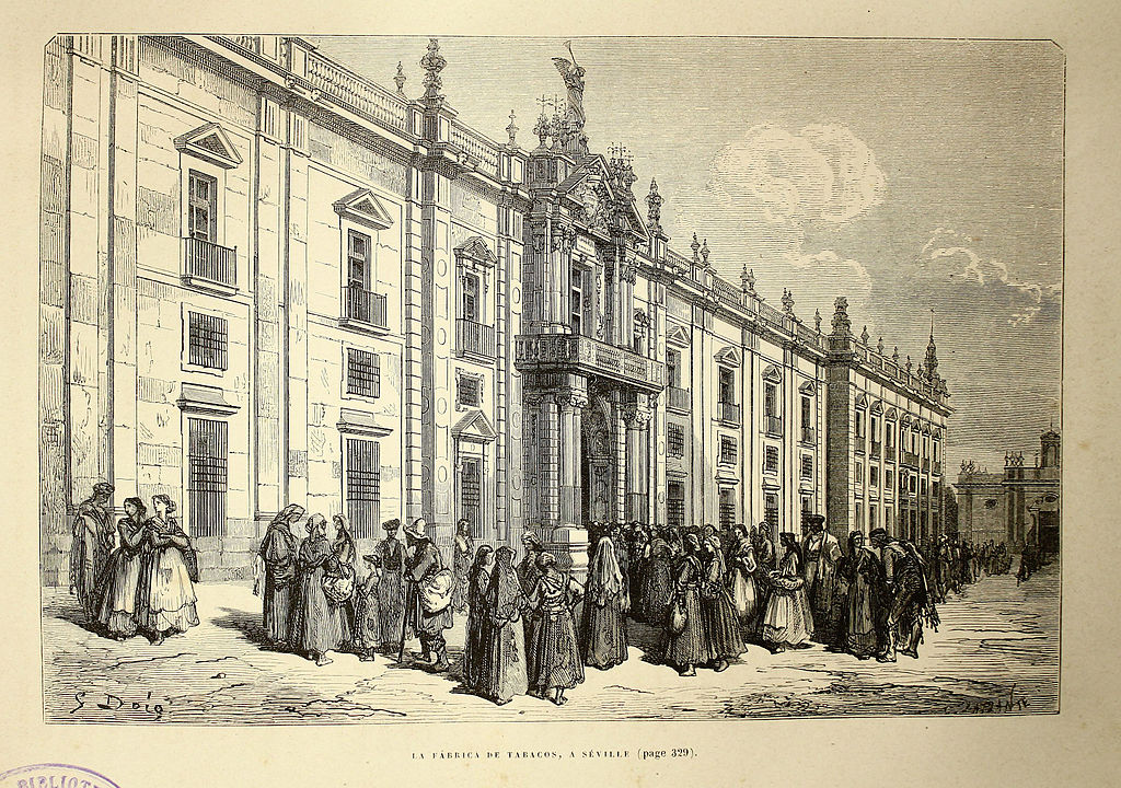 Illustration de Gustave Doré de la manufacture de tabac à Séville (1874).