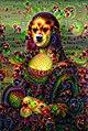 """Mona Lisa"" with DeepDream effect using VGG16 network trained on ImageNet.jpg"