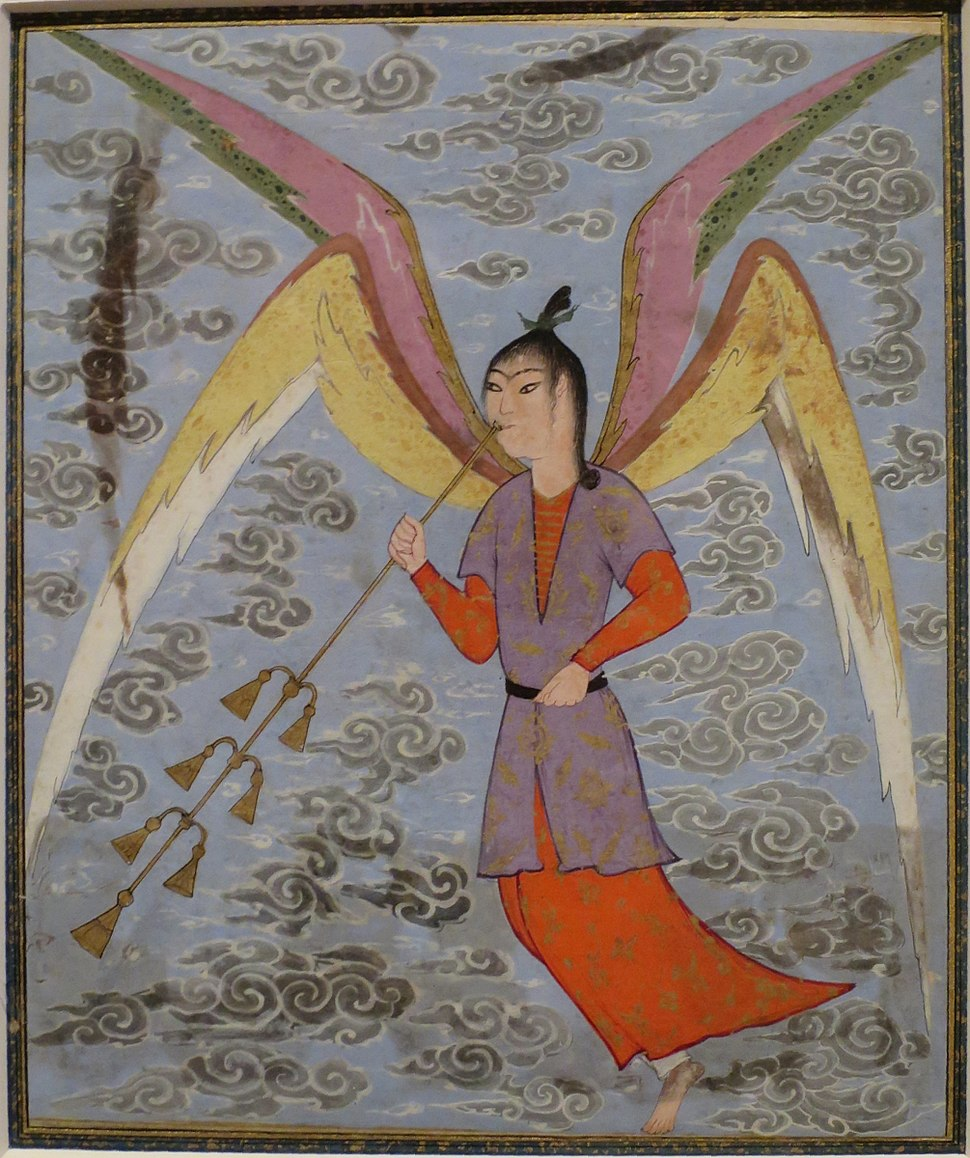 'Angel Blowing a Woodwind', ink and opaque watercolor painting from Iran, c. 1500, Honolulu Academy of Arts