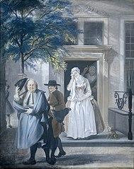 'De geveinsde droefheid': eerste bedrijf, elfde toneel van het blijspel 'De ontdekte schijndeugd' van David Lingelbach (1687)