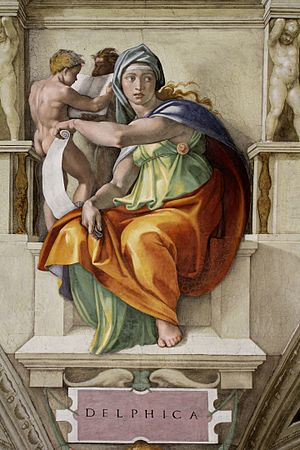 Delphi - Fresco of Delphic sibyl painted by Michaelangelo at the Sistine Chapel.