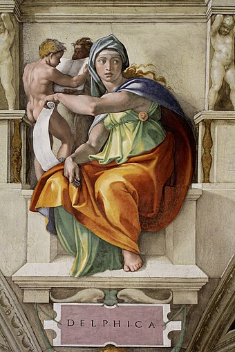 Fresco of Delphic sibyl painted by Michaelangelo at the Sistine Chapel. 'Delphic Sibyl Sistine Chapel ceiling' by Michelangelo JBU37.jpg