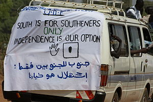 "South Sudanese independence referendum, 2011 - ""South is for southerners"" - tensions from the civil war were a factor in the vote."