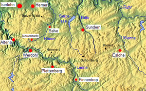 Lenne Mountains - Image: Übersichtskarte Lennegebirge