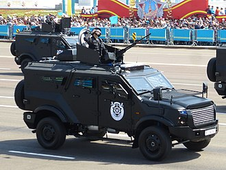 Military parade - Parade during Defender of the Fatherland Day in Astana.