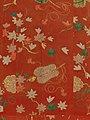 紅縮緬地紅葉軍配団扇模様袈裟-Buddhist Vestment (Kesa) with Maple Leaves and Fans MET DP214908.jpg