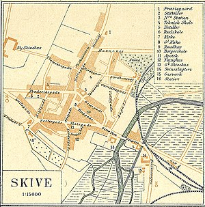 Location of the first train stations in Skive, North: No. 3