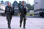 130906-F-JH807-014 Col. Jeannie Leavitt and Capt. William Roedl step to their aircraft prior to take off during exercise RAZOR TALON.jpg