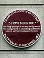13 November 1807. The first geological society in the world was inaugurated in a building on this site known as The Freemasons' Tavern.jpg