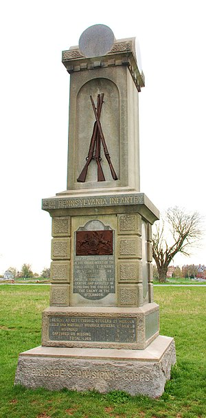 151st Pennsylvania Infantry - The 151st Pennsylvania's monument at Gettysburg, located at the corner of Herbst Woods on McPherson's Ridge