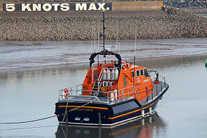 Eastbourne Lifeboat Station - The Diamond Jubilee at anchor in Sovereign Harbour in 2014