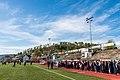 17. mai på Gjøvik stadion 2019 med Hovdetoppen snauhogd i bakgrunnen.jpg