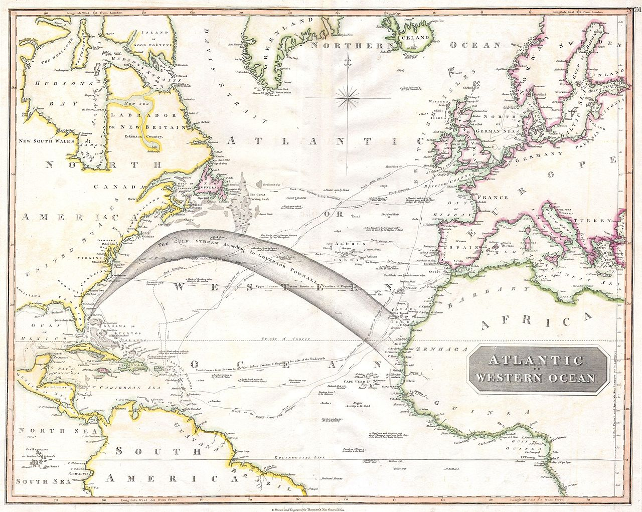 Atlantischer Ozean mit Golfstrom 1814, Karte von John Thomson (1777 - 1840)