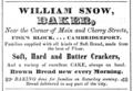 1849 Snow bakery Cherry Street advert Cambridge Directory Massachusetts US.png