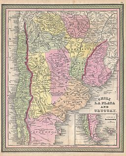 1853 Mitchell Map of Argentina ( La Plata ), Uruguay and Chili - Geographicus - LaPlata-mitchell-1850