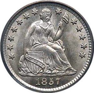 United States Seated Liberty coinage - Obverse of 1857 Seated Liberty Half Dime