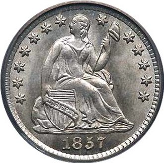 United States Seated Liberty coinage - Obverse of a Seated Liberty Half Dime, dated 1857.