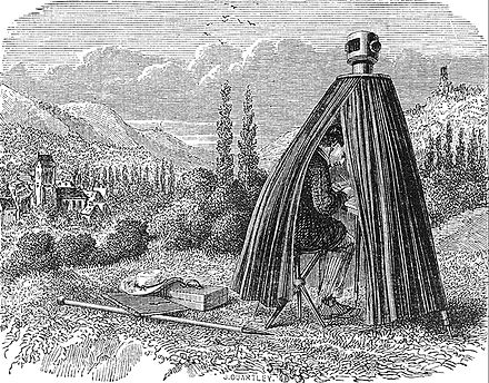 A camera obscura drawing aid tent in an illustration for an 1858 book on physics 1858 - Gagniet (d) Quarteley (g) - Cours de Physique (A. Ganot).jpg