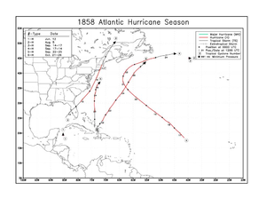 1858 Atlantic hurricane season - Image: 1858 Atlantic hurricane season map