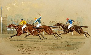 Orme (horse) - Illustration of the 1892 Eclipse Stakes, showing Orme beating Orvieto