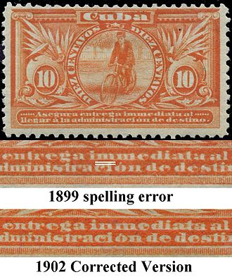 Errors, freaks, and oddities - Image: 1899and 1902 Special Delivery Error