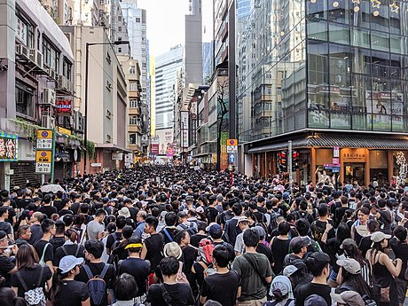 The annual 1 July march at the Jardine's Bazaar shopping district. 190701 HK Protest Incendo 14.jpg